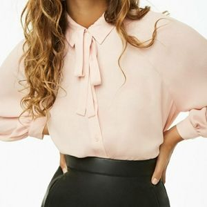 Forever 21 Tie Neck Chiffon Blouse